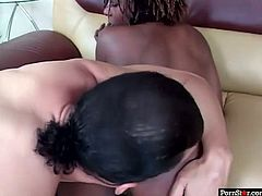 This chocolate chick with pierced nipples is as flexible as a gymnast. Horny dude spreads her legs wide and fucks her tight pussy really hard.
