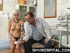 Aged gyno doctor sets up a hidden camera in his gynecology exam room, hot female patients are examined on gyno-chair.