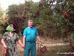 Grandpa Foooki brings you a hell of a free porn video where you can see how this horny brunette teen watches a mature couple play in the farm. This party is on fire!