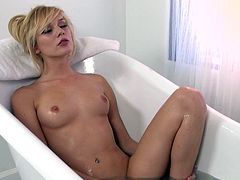 Make suite you have a look at this erotic solo scene where Hayden Hawkens fingering herself in the bathtub before hopping out and masturbating with a dildo.