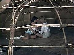 Fuck starving zealous lesbians went to tent and set to kiss each other with passion...Look what they did next in The Classic Porn sex video!