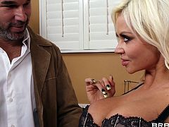 Captivating blonde Nikita Von James shows her cock-sucking skills to Xander Corvus. Then they fuck in the side-by-side and other positions and enjoy it a lot.