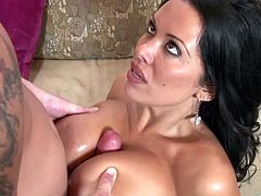 Gorgeous busty brunette Sienna West takes a hot bath to get ready for sucking a big hard cock and getting her sweet pussy drilled hard.