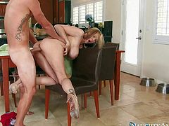 Fuck hungry milf Julia Ann seduces her sons buddies from time to time. Now its Vans tine to drill her mature pussy. Big racked woman sucks his dick before she takes off her blue underwear to be fucked.