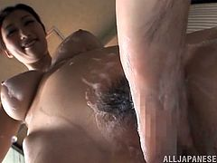 Bushy Asian Pussy Takes A Shower And A Stiff Penis To Play