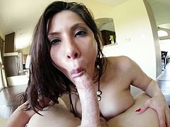Lusty brunette whore with big boobs satisfies her dirty mouth with big incredibly sugary cock of her bellowed stud. Take a look at that hot hoe in My XXX Pass porn video!