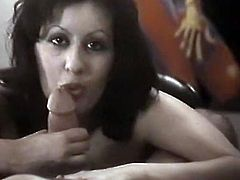 Black haired filthy gal with big tight tits posed on knees and pleased her freak with solid BJ. Look at that hot cock sucker in The Classic Porn sex video!