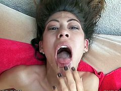 Lusty big breasted bitch enjoyed getting her ever thirsting mouth pounded by giant thick cock of her stud tough. It was not enough for that bitch and she set to fingerfuck herself. Have a look at this lusty slut in My XXX Pass porn video!