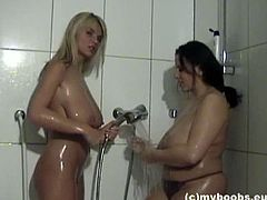 Amateur lesbians with huge luscious boobies Aneta Buena and Ines Cudna having a sensual shower. They love fondling their wet body with soap especially their fresh goodies.