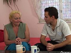 Granny Bet brings you a hell of a free porn video where you can see how this young dude nails this blonde mature's hairy snatch into a breathtakingly intense orgasm.