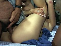 Awesome interracial threesome fucking to the extremes as horny black and white daddies drill fiery brunette hot pussy.