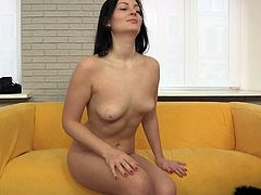 Titless brunette whore gets picked up for rough pounding