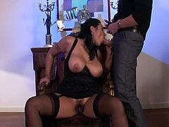 This sexy girl gives two guys head. They fuck her pussy and mouth before she gets her ass and pussy stuffed at the same time.