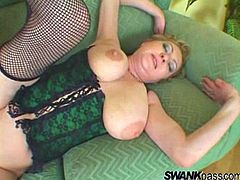 Delightful light-haired mom with big natural boobs blows BBC and gets her cunt banged doggystyle. Afterwards she gets polished mish until dude fills her slit with sticky jizz.