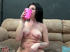 Kinky raven haired filth with tattooes enjoyed getting her ever thirsting kitty hammered in missionary style on sofa. Look at that bonny bitch in My XXX Pass porn video!