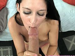 Gorgeous brunette gives a handjob as she licks balls then she gets on her knees for a doggy style fuck as her hot ass shows and he cums in her mouth