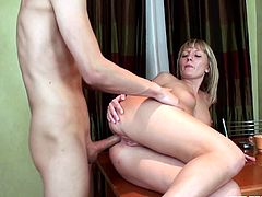 Sexy Russian blonde Nika works her mouth off sucking his boyfriend so she can get the hard fuck she has been looking forward to.