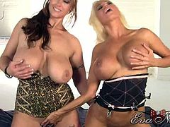 Eva Notty has massive natural jugs and Nikita Von James has equally big boobs. Eva licks Nikita's ass hole before they play with their boobs and Nikita licks Eva's pussy.