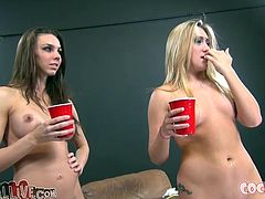 Two sexy babes made a kind of cock riding competition