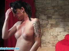 This sexy milf from the Czech Republic is ready for her first lapdance casting. She knows how to be amazing and even gives this dude a nice handjob for big cumshot.