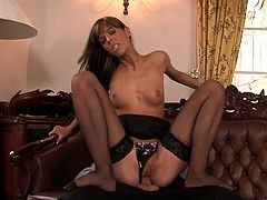 Take a nice look at this long haired lady, with a nice ass wearing nylon stockings, while she has anal sex with a naughty fellow and moans stridently.