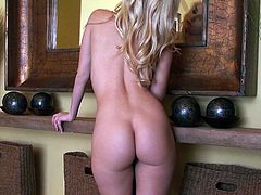 What are you waiting for? Watch this blonde babe, with a nice ass wearing cute panties, while she sensually takes her lingerie off.
