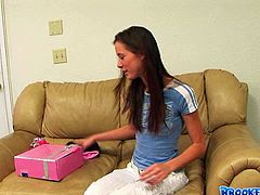 Dark haired babe Brooke Skye got some presents like Victoria's Secret underwear from her fans and tries them on in front of the camera.