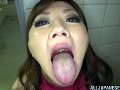 A lustful Japanese chick with juicy boobs licks guy's assholes and sucks their dicks in a bathroom. Miyuki also toys her vagina and gets a mouthful.