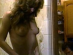 Gorgeous blonde masturbates her pussy while spying her husband in a toilet