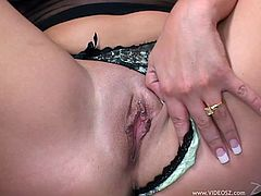 A big breasted blonde chick gives a titjob and a deepthroat blowjob. Then Savannah gets fucked rough by a brutal guy.