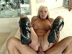 Seductive busty slut gets her gorgeous pussy fucked hard from behind. She moans with pleasure while hard dong invades her muff. Her adorable body will turn you in for a few seconds.