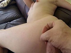 This blondie just can't get enough of her lover's dick. Horny dude bangs her in sideways position. Then he fucks her really hard from behind.