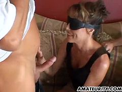 A busty amateur girlfriend homemade anal hardcore threesome with blowjob and huge facial cumshots !