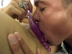 Take a look at this hardcore scene where the slutty brunette Victoria Dark takes a pounding from a big cock after masturbating with a dildo.