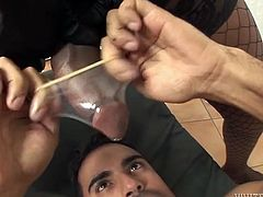 Kinky ebony tranny with huge ass and massive cock pleased saggy asshole of her skinny fuck dude in mish position. Then that freak removed condom and set to drink sperm of that TS slut .Just watch that disgusting TS sex in Fame Digital porn video!