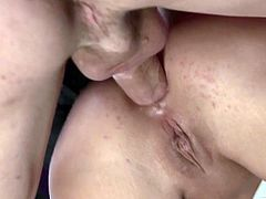 Threesome sex leaves Cathy Heaven with a stretched out asshole