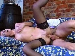 Lovely blonde milf Shiela, wearing stockings, lets a man eat and finger her pussy. After that they fuck doggy style and in the cowgirl position and seem to enjoy it a lot.