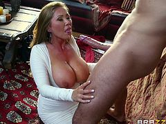Busty brunette girl has mutual oral sex with dude and gets her phat muff screwed mish. Thereafter blondie sucks massive dick before getting her cooch banged doggystyle and in missionary pose until man cums in her mouth.