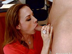 Office slut in short skirt Chanel Preston takes dick from behind