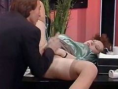 Horny boss enjoys licking pussy of seductive red haired babe. He inserts his fingers in her juicy slit and tickles it from within. Be ready fro exciting sex movie for free.