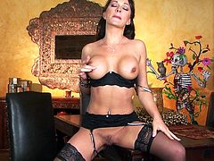 Prepare your cock for this brunette chick, with big fake tits wearing nylon stockings, while she masturbates until she has an orgasm.