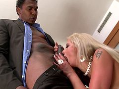 Salacious blonde milf Candy Love, wearing a miniskirt, admires a black guy with her cock-sucking talent. Then the dude drives his BBC in Candy's snatch and pounds it doggy style.