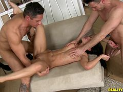Mya shows off her tight abs and fit body while fucking two guys. After fucking them both she gets double penetrated by them.