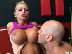 Beautiful Blonde Cougar Enjoying A Mind-Blowing Cowgirl Style Fuck In A Gym