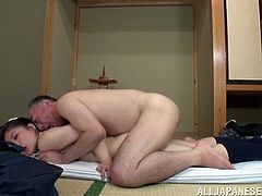 Have fun watching this Japanese girl, with a nice ass wearing a miniskirt, while she gets nailed hard in the missionary position and doggystyle.