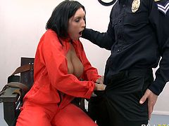 Horny policeguy gets his staff cock sucked by busty brunette prisoner Dylan Ryder
