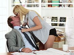 Sex hunter Vanessa Cage seduces her boss for sex in the office