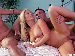 Lusty light-haired sexploitress has mutual oral sex with buddies. She rides stiff dick on top and gets drilled in a sideways pose while blowing other dude's cock. Then she gets her asshole plowed mish and gets a load of cum on her face.