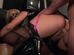 Gorgeous blonde MILF Katie Kox licks this guy's balls and sucks his big hard cock before getting her beautiful pussy drilled.
