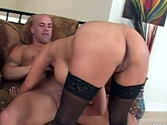 A nasty fuckin' bitch sucks on a hard cock and takes it balls deep into her fuckin' gash, check it out right here, it's hot as fuck!